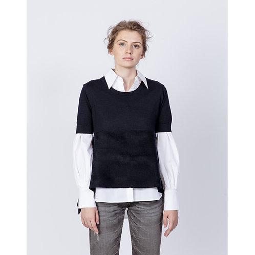 Hana San Wool Sweater Fujiro Night Blue luxury high end fashion karybu shop online