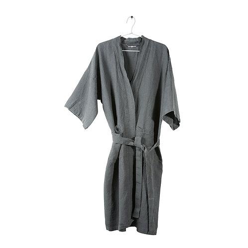 Washed Linen Kimono - Real Grey