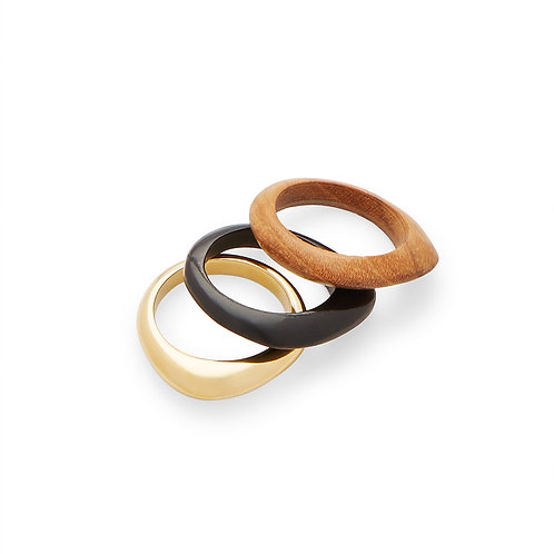Soko jewellery Sabi Mixed Material Stacked Rings karybu luxury fashion shop online