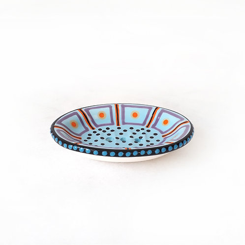 hand-painted karybu shop online ceramics African design kitchenware kitchen accessories Soap Dish Orange-Blue-Purple