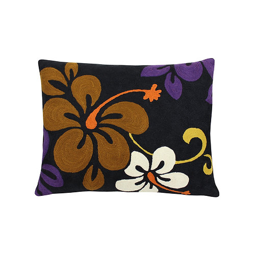 Anais Black Embroidered Cushion Lindell & Co. chain stitch luxury interior Karybu shop online