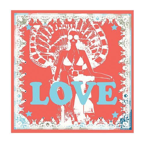 100% Silk Foulard - Love in Paris Rouge 90 x 90 cm Be Parisian Luxury fashion Karybu shop online