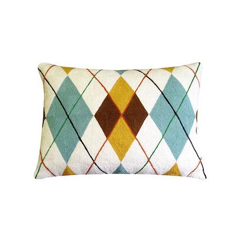 Chattan White Embroidered Cushion Lindell & Co. chain stitch luxury interior Karybu shop online
