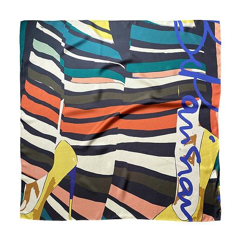 100% Silk Foulard - In your shoes 90 x 90 cm Be Parisian Luxury fashion Karybu shop online