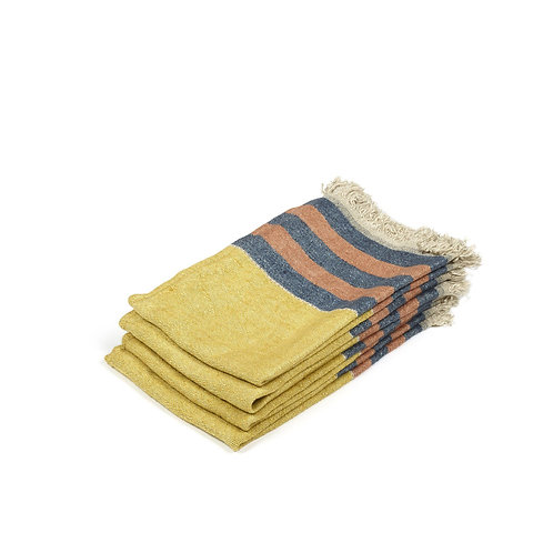 The Libeco Belgian Towel Guest Towel Red Earth Stripe 55x65cm luxury interior belgian linen shop online karybu