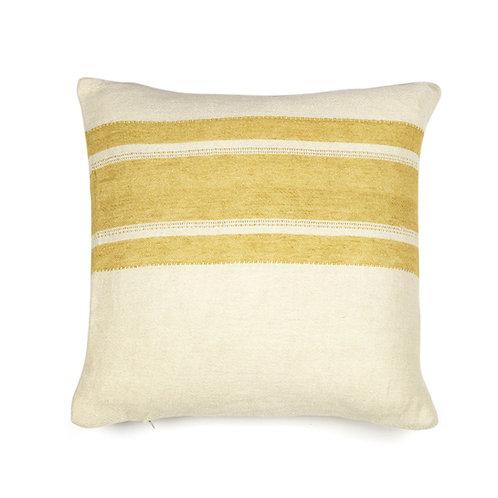 The Libeco Belgian Pillow Mustard Stripe 50x50cm luxury interior belgian linen shop online karybu