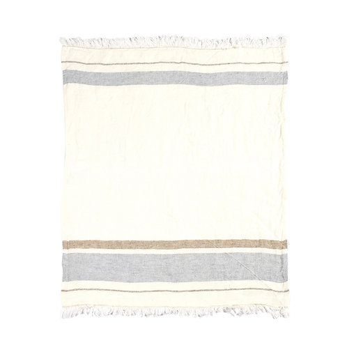 Libeco The Belgian Towel Fouta Oyster Stripe 110x180cm luxury interior belgian linen shop online karybu