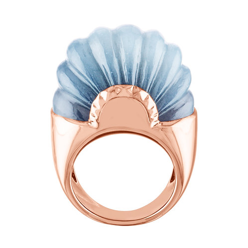 Sophistiquee Ring No1 Rose Gold & Hand Carved Grey Moonstone luxury jewellery jewelry shop online karybu
