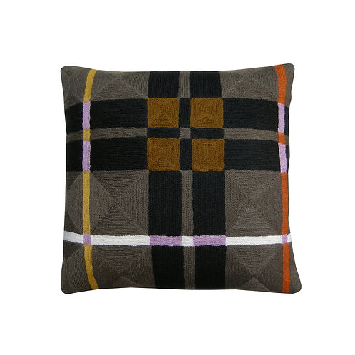 Mac Lindell Brown Embroidered Cushion