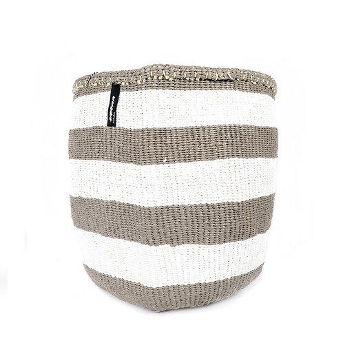 Mifuko Thick Stripes Basket Kiondo Medium Light Grey Luxury interior accessories natural Karybu concept store shop online
