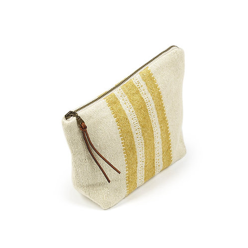 The Libeco Belgian Pouch Mustard Stripe luxury interior belgian linen shop online karybu