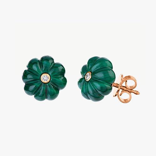 Sophistiquée Earrings Malachite and Diamonds Gold 18k Nana Fink luxury jewellery jewelry shop online Karybu