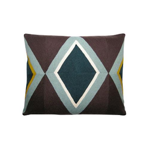 Riviera Brown Embroidered Cushion Lindell & Co. chain stitch luxury interior Karybu shop online