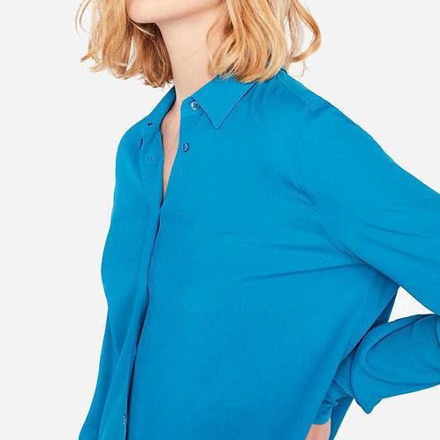 Crepe Shirt Liviana Conti Vivid Turquoise luxury high end fashion Italian karybu shop online