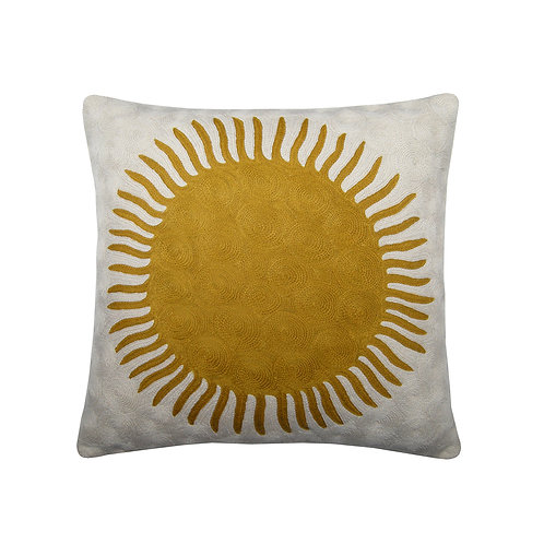 New Sun Yellow Embroidered Cushion Lindell & Co. chain stitch luxury interior Karybu shop online