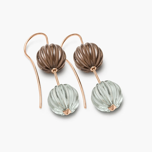 Sophistiquee Earrings Rosegold Brown Quartz & Prasiolite