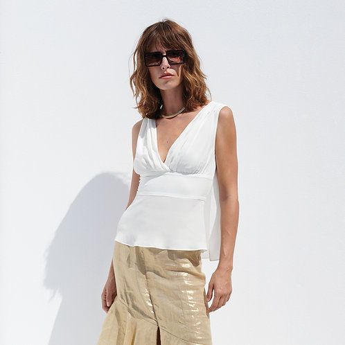 Zeus & Dione - Zoe Silk Tank Top Ivory luxury fashion spring summer resort collection 19 shop online Karybu