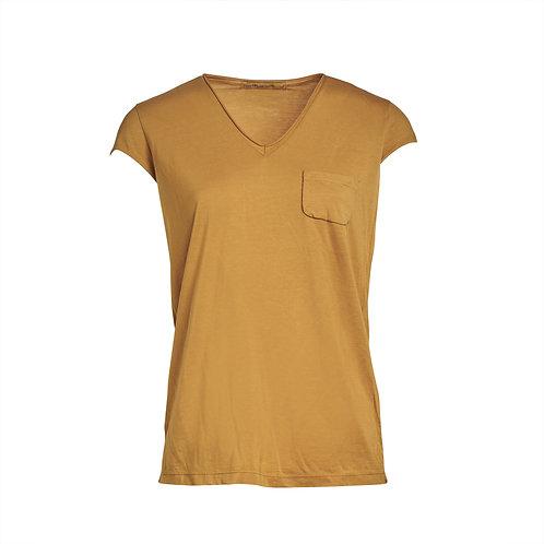 Transit V-neck Cotton T-shirt - Turmeric women luxury fashion spring summer 20 shop online Karybu