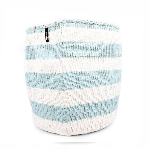 Mifuko Thick Stripes Basket Kiondo Large Light Blue Luxury interior accessories natural Karybu concept store shop online