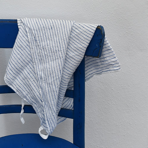 Washed Linen Dish Towel / Apron Striped Blue