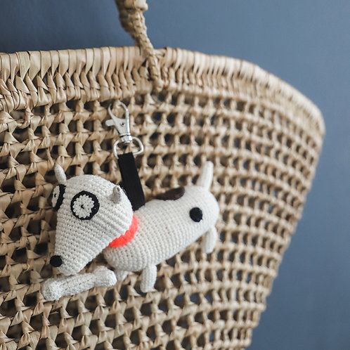 Crochet Dog with Bone Keyring