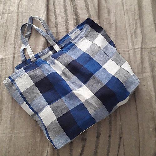 Large Washed Linen Bag - Carellage Bleue