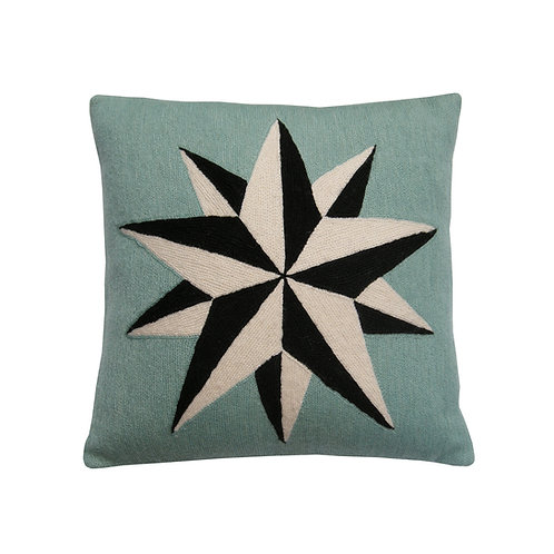 Estelle Blue Embroidered Cushion Lindell & Co. chain stitch luxury interior Karybu shop online