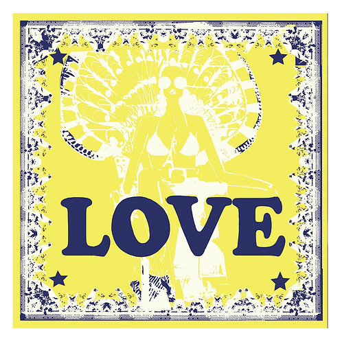 100% Silk Foulard - Love in Paris Jaune 140 x 140 cm Be Parisian Luxury fashion Karybu shop online
