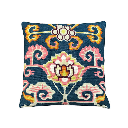 Pema Blue Embroidered Cushion Lindell & Co. chain stitch luxury interior Karybu shop online