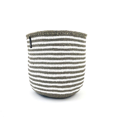 Mifuko Thin Stripes Basket Kiondo Small Light Grey Luxury interior accessories natural Karybu concept store shop online