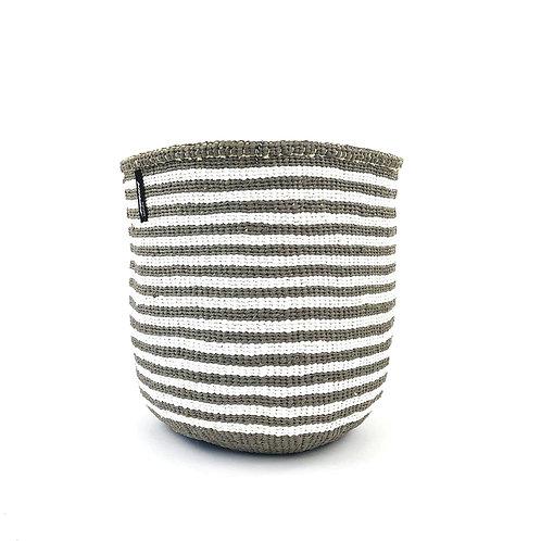 Mifuko Thin Stripes Basket Kiondo Small Light Grey Luxury interior accessories natural Karybu concept store shop online