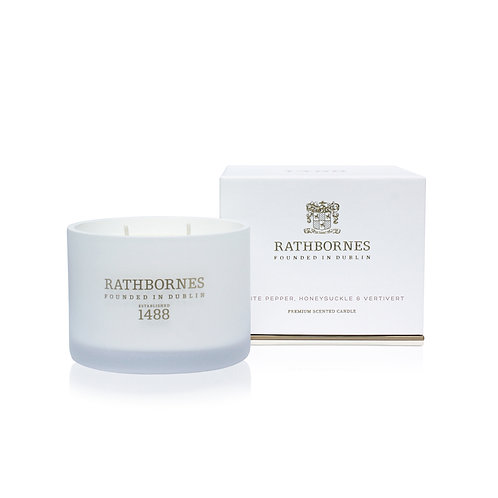 rathbornes 1488 White Pepper Honeysuckle Vetivert Scented Classic Candle karybu shop online
