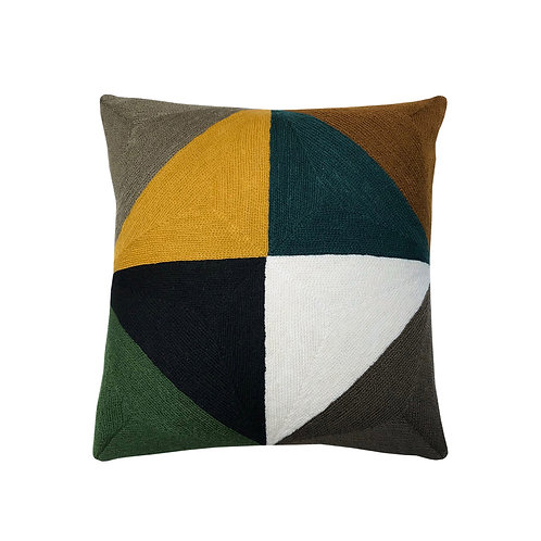 John Yellow/Green Embroidered Cushion Lindell & Co. chain stitch luxury interior Karybu shop online