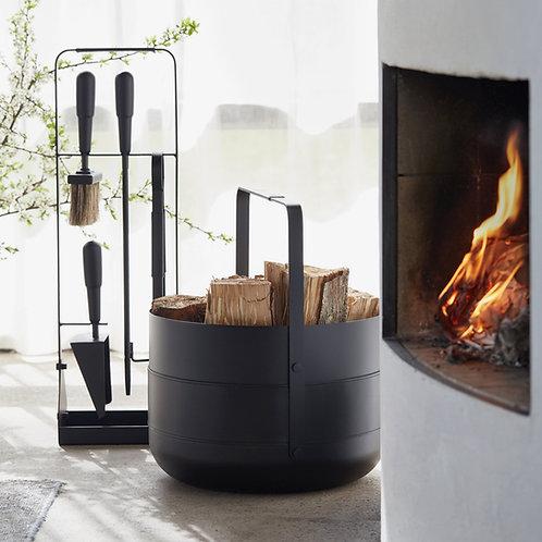 Wood Basket Emma Noir Eldvarm fireplace accessories shop online karybu