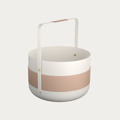 Wood Basket Emma white Eldvarm fireplace accessories luxury interior design shop online karybu