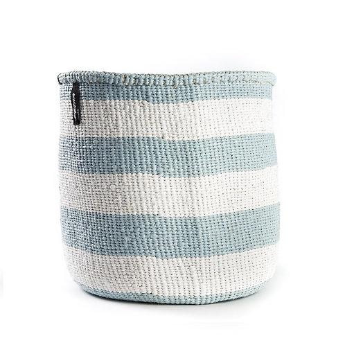 Mifuko Thick Stripes Basket Kiondo Medium Light Blue Luxury interior accessories natural Karybu concept store shop online