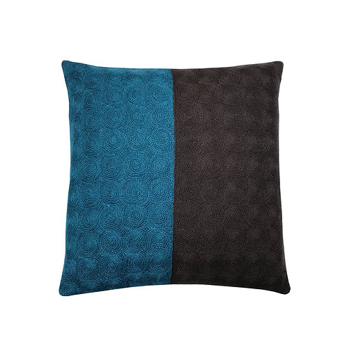 Nelson Blue/Brown Embroidered Cushion Lindell & Co. chain stitch luxury interior Karybu shop online