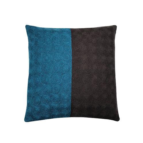 Nelson Blue/Brown Embroidered Cushion Lindell & Co. chain stitch luxury interior Karybu shop online