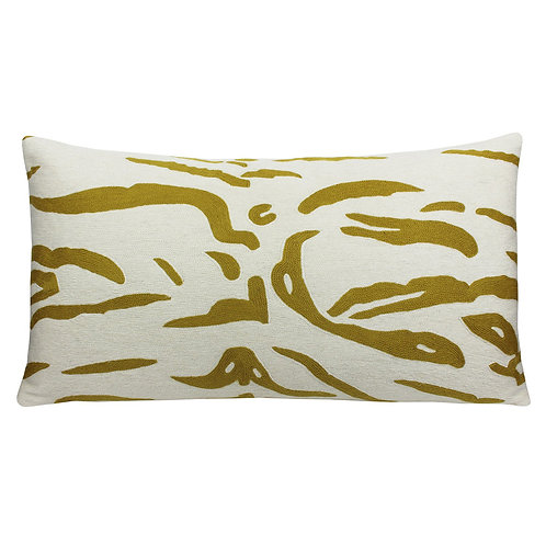 Duncan Yellow Embroidered Cushion Lindell & Co. chain stitch luxury interior Karybu shop online
