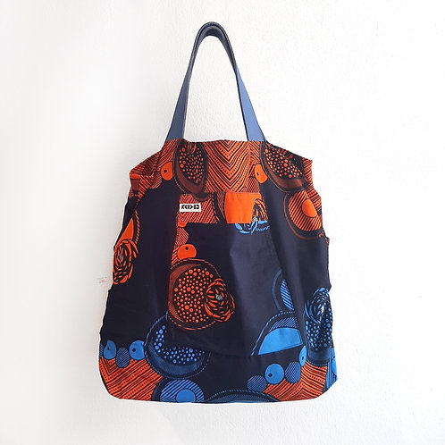 Kitenge Bag 2020 - Geometric Blue-Orange shop online luxury fashion karybu