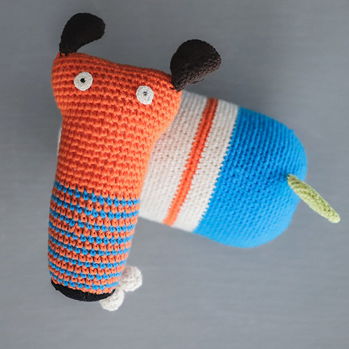 Crochet Dog with Bone Orange - Large