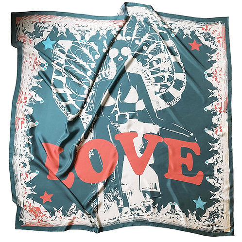 100% Silk Foulard scarf - Love in Paris Ardoise 140 x 140 cm Be Parisian Luxury fashion Karybu shop online