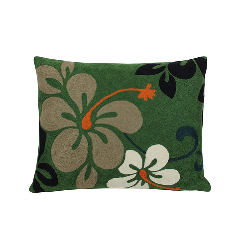 Anais Green Embroidered Cushion Lindell & Co. chain stitch luxury interior Karybu shop online