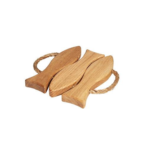 Ecofurn Oak Wood Fish Coaster Small Luxury interior home accessories