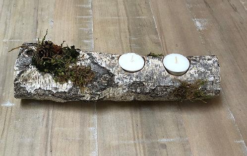 Birch Log Candleholder