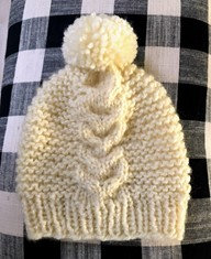 Cabled Ivory Knit Hat