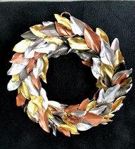 Multi-Metallic Magnolia Wreath