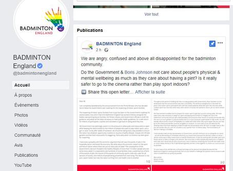 DECONFINEMENT - Badminton England se fâche