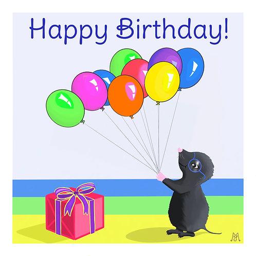 Birthday card - Mika loves balloons
