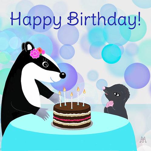 Birthday card - Binkie & Mika Celebrate